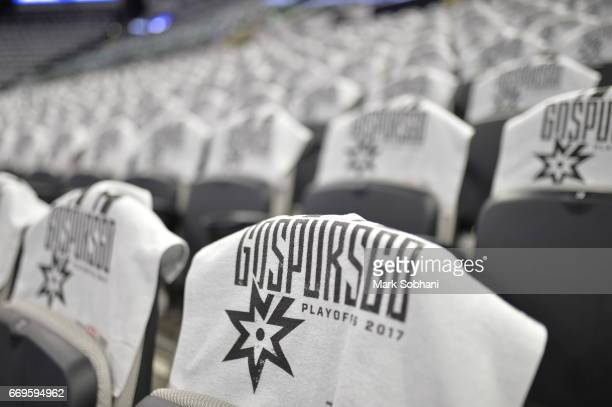 A detail view before the game between the San Antonio Spurs and the Memphis Grizzlies in Game Two of the Western Conference Quarterfinals of the 2017...