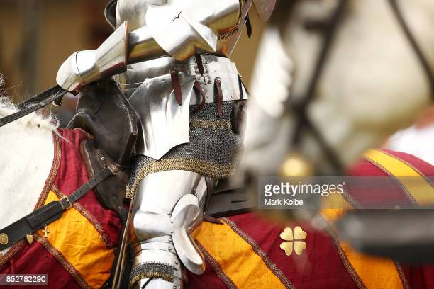 A detail view is seen as riders and their mounts prepare to compete in the World Jousting Championships on September 24 2017 in Sydney Australia The...