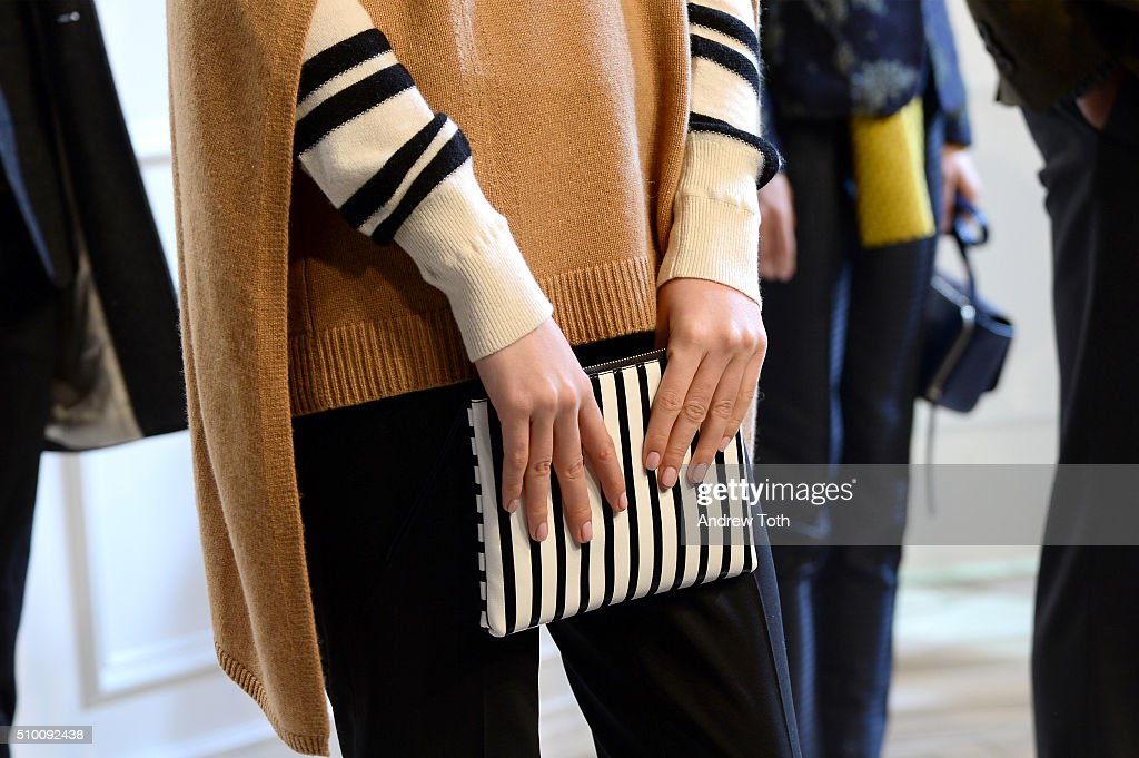 A detail view of a bag as model poses at the Banana Republic Fall 2016 fashion show at Highline Stages on February 13, 2016 in New York City.