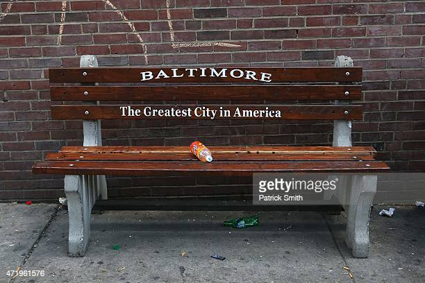A detail view of a bench in West Baltimore a day after Baltimore authorities released a report on the death of Freddie Gray on May 2 2015 in...