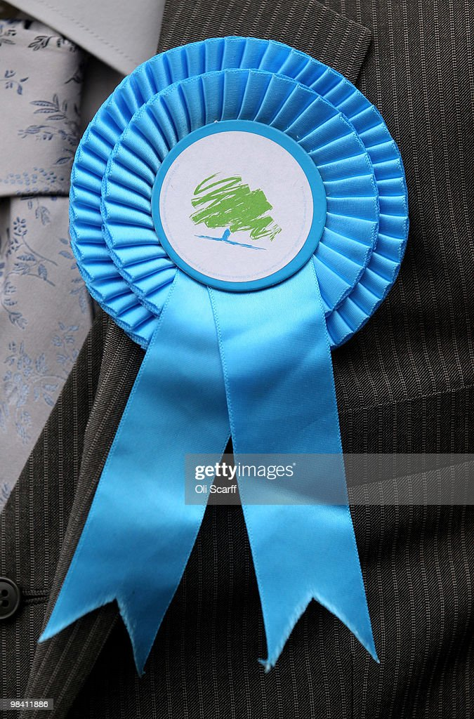 A detail view of a Conservative party rosette worn by a supporter in Loughborough's Market Place on April 12 2010 in Loughborough England Mr Cameron...