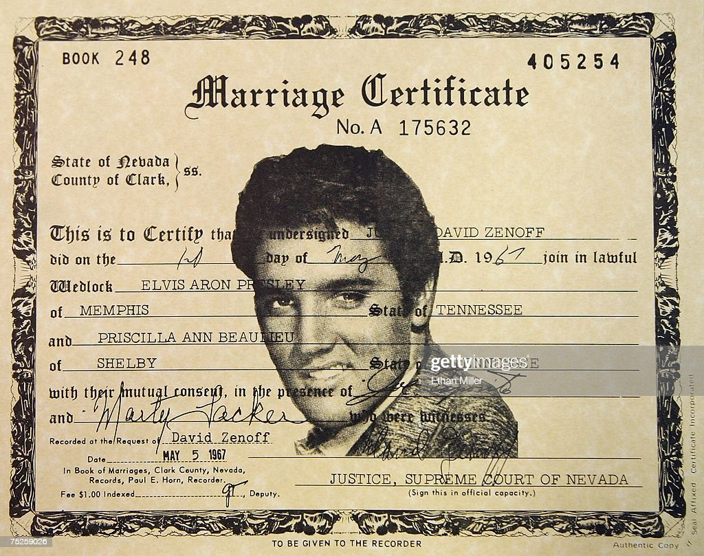 A detail view of a copy of Elvis and Priscilla Presley's Las Vegas marriage license from 1967 is seen at the Graceland Wedding Chapel July 7, 2007 in Las Vegas, Nevada. Couples getting married at the chapel get their own copy of the license. Wedding planners say a flood of couples are marrying on 7/7/07 due to the numerical and superstitious significance of the date.