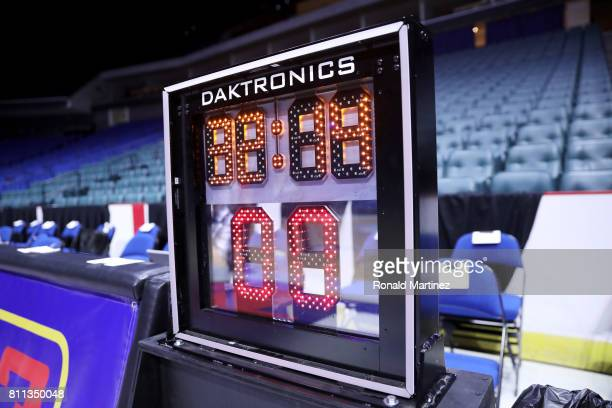 A detail view of a Daktronics timer during week three of the BIG3 three on three basketball league at BOK Center on July 9 2017 in Tulsa Oklahoma