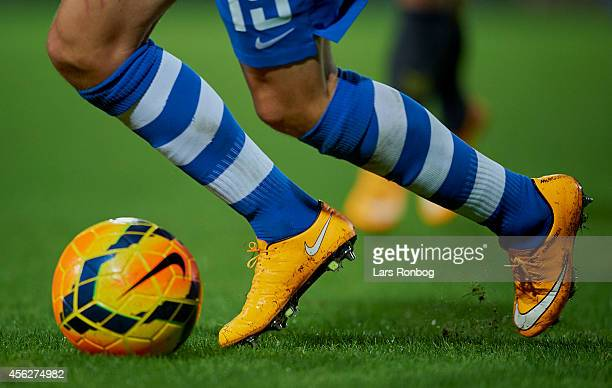 Detail view of a Esbjerg player who dribbles with the ball during the Danish Superliga match between Esbjerg FB and Brondby IF at Blue Water Arena on...