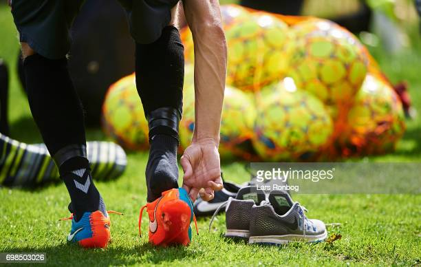 Detail view of a football shoe during the Brondby IF training session at Brondby Stadion on June 20 2017 in Brondby Denmark