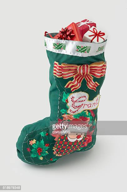 Detail view of a full Christmas stocking