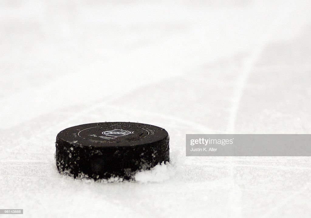 A detail view of a hockey puck on the ice during the Pittsburgh Penguins game against the Toronto Maple Leafs at Mellon Arena on March 28 2010 in...
