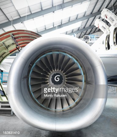 Detail view of a jet engine of airplane