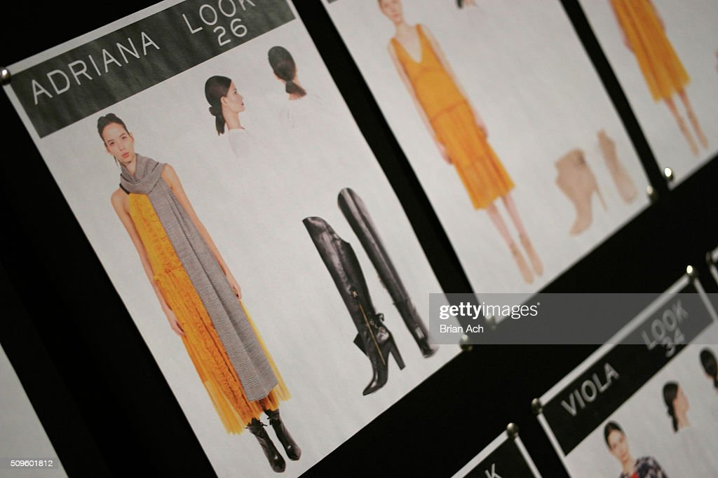 A detail view of a look board backstage at the Marissa Webb Fall 2016 fashion show during New York Fashion Week: The Shows at The Gallery, Skylight at Clarkson Square on February 11, 2016 in New York City.
