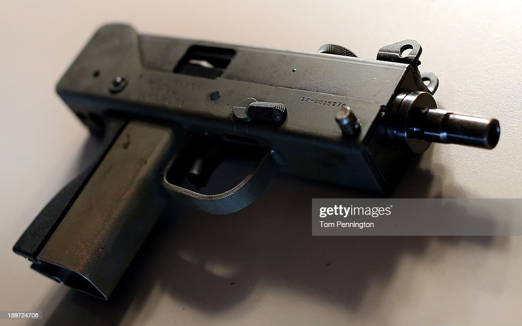 A detail view of a MAC9 semiautomatic pistol at a gun buy back program at the First Presbyterian Church of Dallas on January 19 2013 in Dallas Texas...