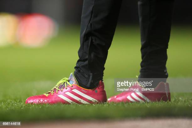Detail view of a Manchester United's Luis Nani's football Adidas football boots