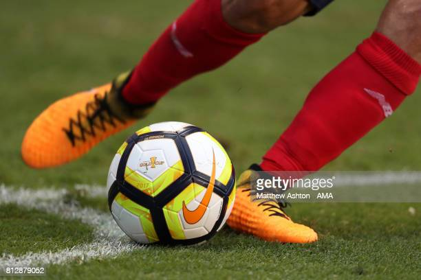 Detail View of a matchball and boots as a Costa Rica corner kick is taken during the 2017 CONCACAF Gold Cup Group A match between Costa Rica and...