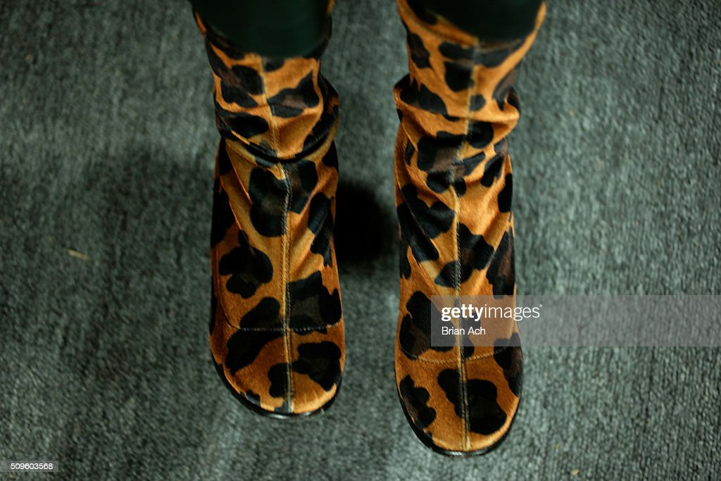Detail view of a models boots as she prepares backstage at the Marissa Webb Fall 2016 fashion show during New York Fashion Week: The Shows at The Gallery, Skylight at Clarkson Square on February 11, 2016 in New York City.