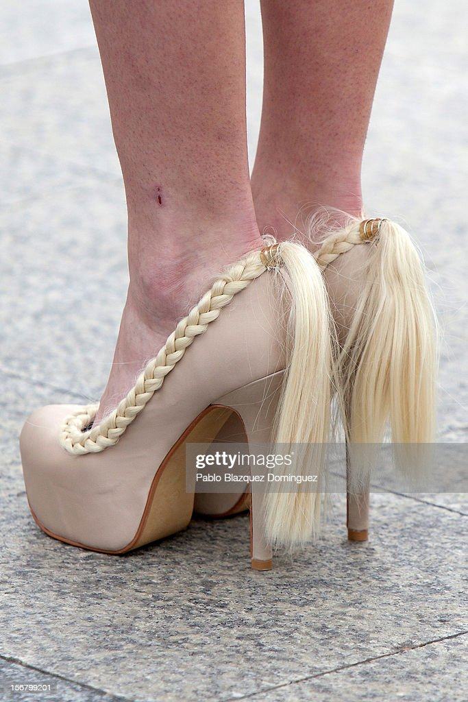 A detail view of a model's shoes during the Wool Week 2012 inaguration at Colon Square on November 21, 2012 in Madrid, Spain.