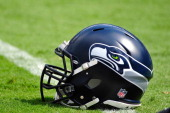Detail view of a Seattle Seahawks helmet during play against the Carolina Panthers at Bank of America Stadium on September 8 2013 in Charlotte North...