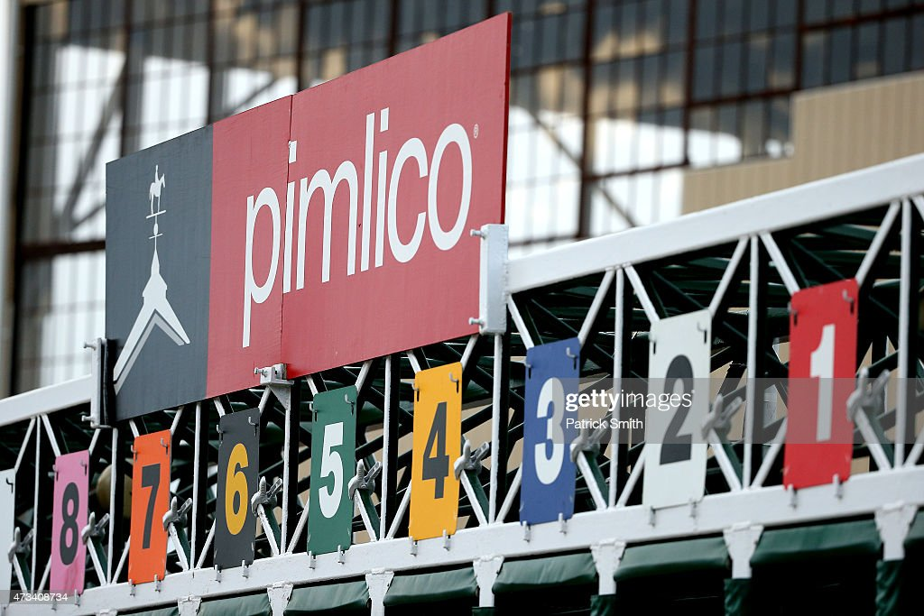 A detail view of a starting gate for the 140th Preakness Stakes at Pimlico Race Course on May 15 2015 in Baltimore Maryland