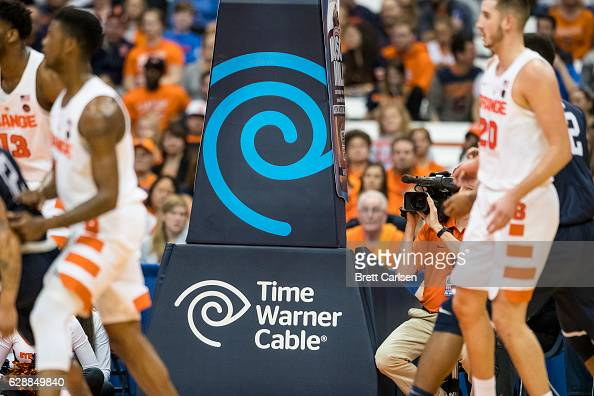 Detail view of a Time Warner Cable advertisement during the game between the Syracuse Orange and the Monmouth Hawks on November 18 2016 at The...