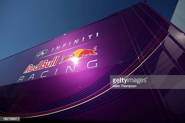 A detail view of a truck belonging to Infiniti Red Bull Racing Team during Formula One winter testing at Circuito de Jerez on February 5 2013 in...