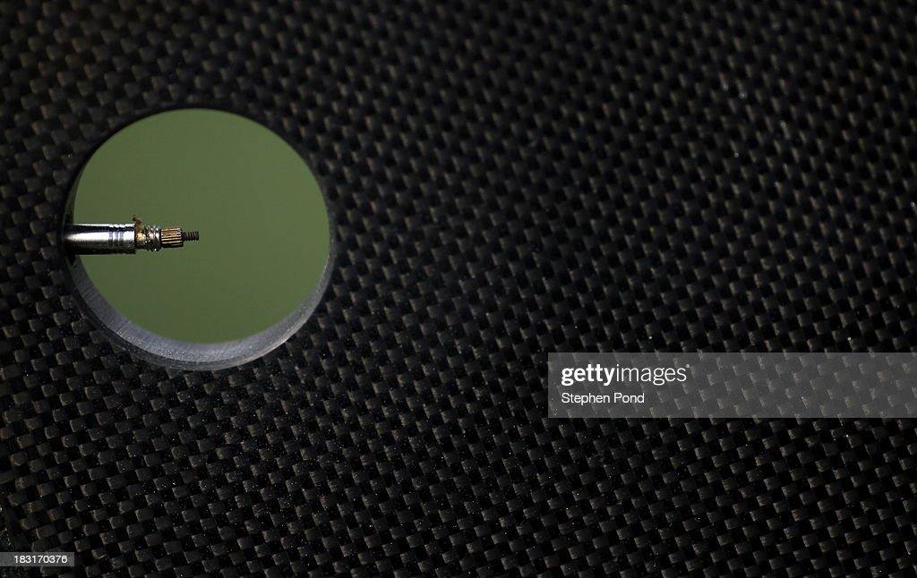 Detail view of a tyre valve inside a carbon wheel as competitors rack their bikes ahead of race day before the Challenge Triathlon Barcelona on October 5, 2013 in Barcelona, Spain.
