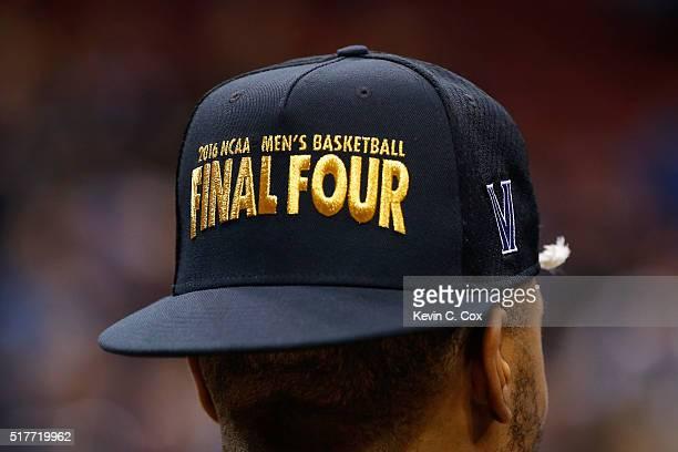A detail view of a Villanova Wildcats Final Four hat after the Villanova Wildcats defeated the Kansas Jayhawks during the 2016 NCAA Men's Basketball...