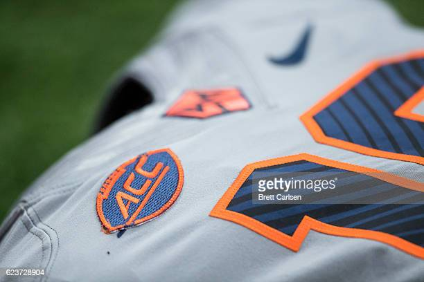 Detail view of ACC logo on Syracuse Orange uniforms before the game against the North Carolina State Wolfpack on November 12 2016 at The Carrier Dome...