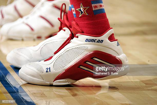 A detail view of adidas sneakers worn by Tim Duncan of the Western Conference during the 2005 NBA AllStar Game at The Pepsi Center on February 20...