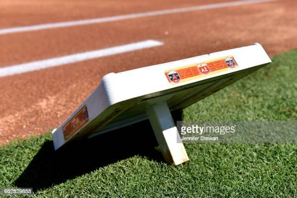 Detail view of Arizona Diamondbacks base sitting on the field prior to the spring training game at Salt River Fields at Talking Stick on February 25...