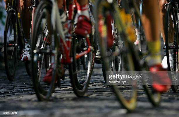 A detail view of bicycles wheels is seen at the Bensberg castle during the 92nd Rund um Koeln cycling race on April 09 2007 in Bensberg near Cologne...
