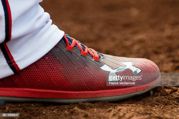 A detail view of Bryce Harper of the Washington Nationals Under Armour cleats in the third inning of a baseball game against the Cincinnati Reds at...