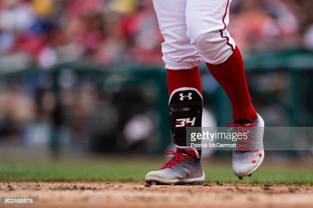 A detail view of Bryce Harper of the Washington Nationals Under Armour cleats in the first inning of a baseball game against the Cincinnati Reds at...