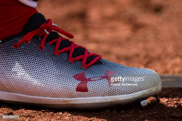 A detail view of Bryce Harper of the Washington Nationals Under Armour cleats in the seventh inning of a baseball game against the Cincinnati Reds at...