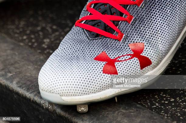 A detail view of Bryce Harper of the Washington Nationals Under Armour cleats before the start of a baseball game against the Cincinnati Reds at...
