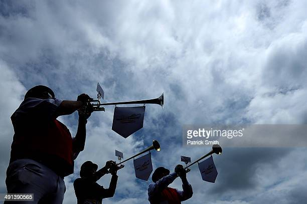 A detail view of buglers before BlackEyed Susan Day racing a day prior to the 139th Preakness Stakes at Pimlico Race Course on May 16 2014 in...