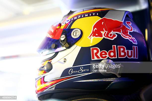 A detail view of Carlos Sainz Jr of Spain and Infiniti Red Bull Racing's helmet in the garage during day one of Formula One testing at Yas Marina...