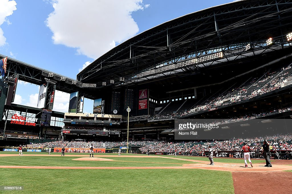 A detail view of Chase Field during a game between the Arizona Diamondbacks and the Colorado Rockies on May 01, 2016 in Phoenix, Arizona.