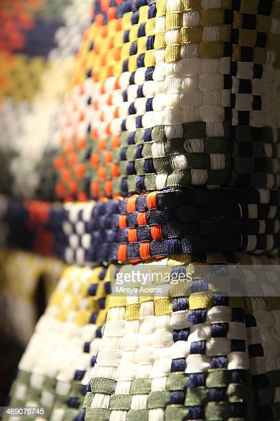 Detail view of dress backstage at the Sass Bide fashion show during MercedesBenz Fashion Week Fall 2014 at The Waterfront on February 12 2014 in New...