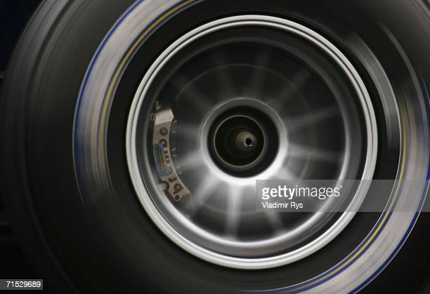 Detail view of Formula One racing cars wheel is seen during first practice for the German Formula One Grand Prix at the Hockenheim Ring on July 28...