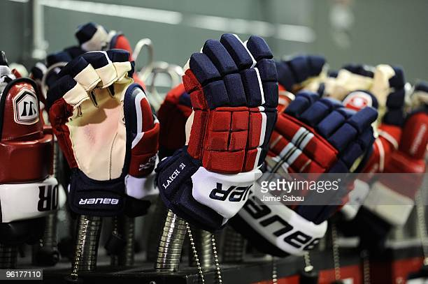 Detail view of gloves belonging to the Washington Capitals dry out before a game against the Pittsburgh Penguins on January 21 2010 at Mellon Arena...