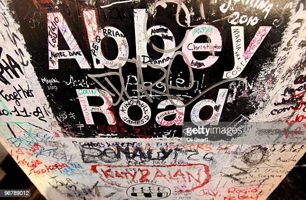 A detail view of graffiti tributes written by members of the public at the entrance to the Abbey Road recording studios which have been put up for...