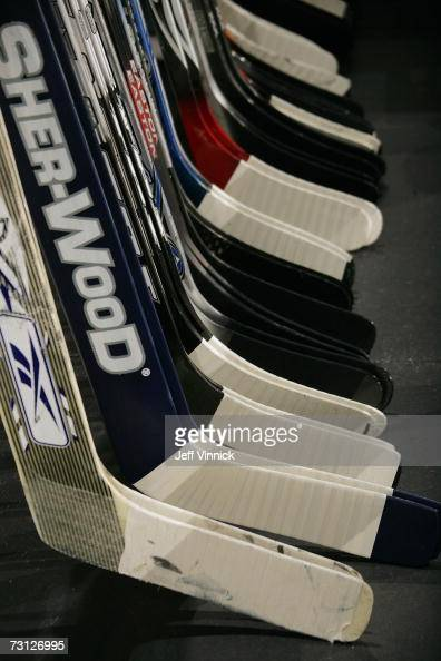 A detail view of hockey sticks is shown during the Vancouver Canucks game against the Dallas Stars at General Motors Place on January 3 2007 in...