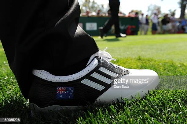 A detail view of Jason Day of the International Team shoe during a practice round prior to the start of The Presidents Cup at the Muirfield Village...