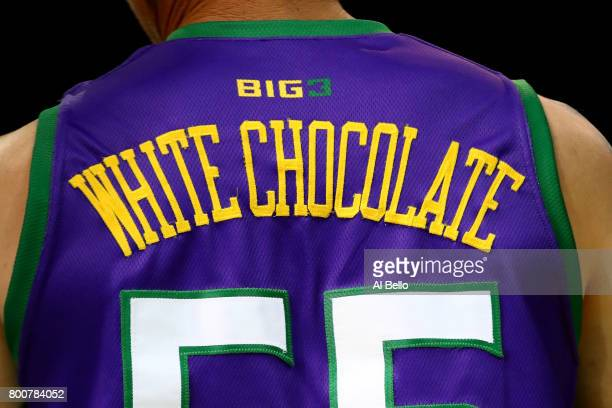 A detail view of Jason Williams of the 3 Headed Monsters jersey with 'White Chocolate' on the back is seen in the game against the Ghost Ballers...