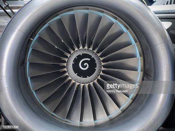 Detail view of jet engine of airplane