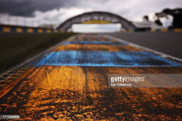 Detail view of kerbing at the Dunlop Bridge during previews for the Le Mans 24 Hour race at the Circuit de la Sarthe on June 21 2013 in Le Mans France