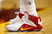 A detail view of LeBron James of the Cleveland Cavaliers' sneakers during Game Four of the Eastern Conference Finals of the 2015 NBA Playoffs at...