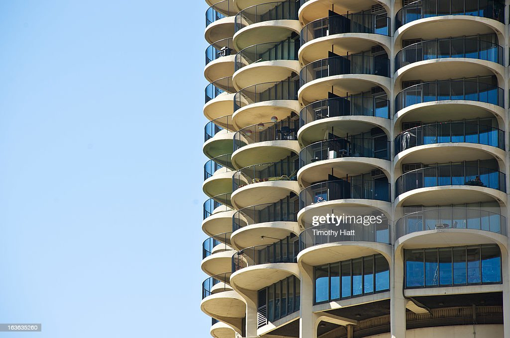 A detail view of Marina Towers on March 13, 2013 in Chicago, IL.