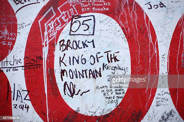 A detail view of memorial messages to the late Peter Brock are seen on the race wall on top of Mount Panorama during the V8 Supercars Bathurst 1000...