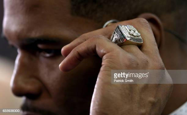 A detail view of Michael Strahan's Super Bowl championship ring is seen prior to Super Bowl 51 between the New England Patriots and the Atlanta...