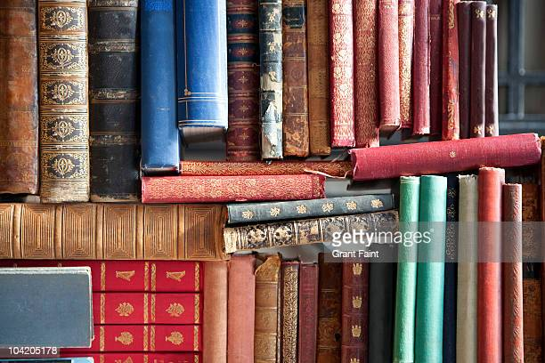 Detail view of old books in pile
