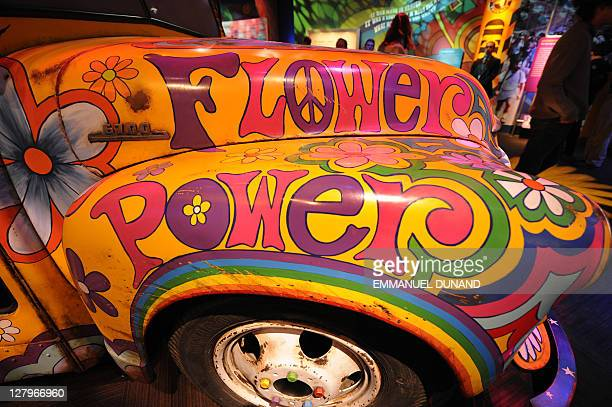 Detail view of paintings adorning a Hippies 'Magic Bus' on display as part of 'The Story of the Sixties and Woodstock' at the Museum at Bethel Woods...